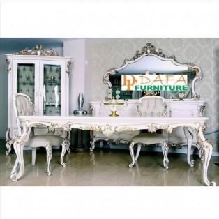 Set Kursi Makan Mewah Klasik Putih Ukir