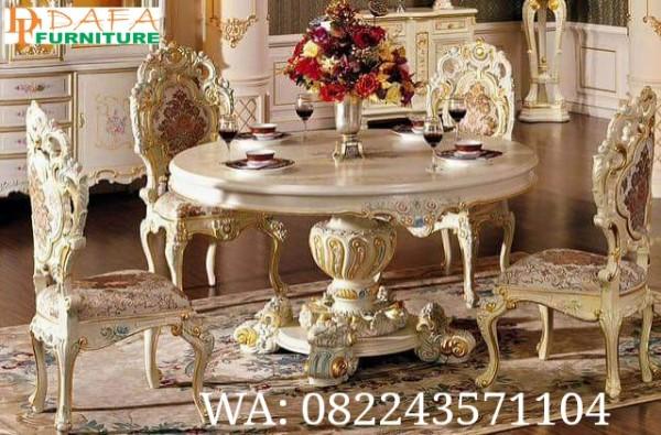 Set Meja Makan Minerva Ukir Klasik Bulat