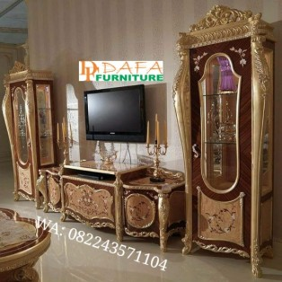 Bufet Tv Set Mewah Luxury Kayu Jati
