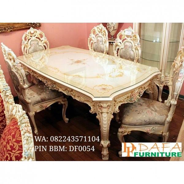 Set Meja dan Kursi Makan Ukiran 6 Kursi