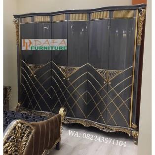 Almari Pakaian Mewah Klasik 6 Pintu Terbaru