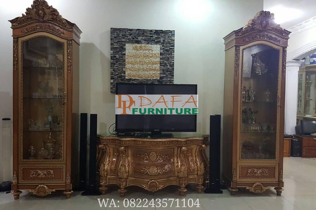 Set Bufet Tv Jati Ukiran Klasik Mewah Terbaru