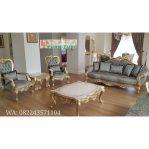 Sofa Tamu Ukir Emas Klasik Mewah Terbaru