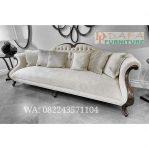 Kursi Sofa Tamu 3 Dudukan Putih Kayu Jati Terbaru