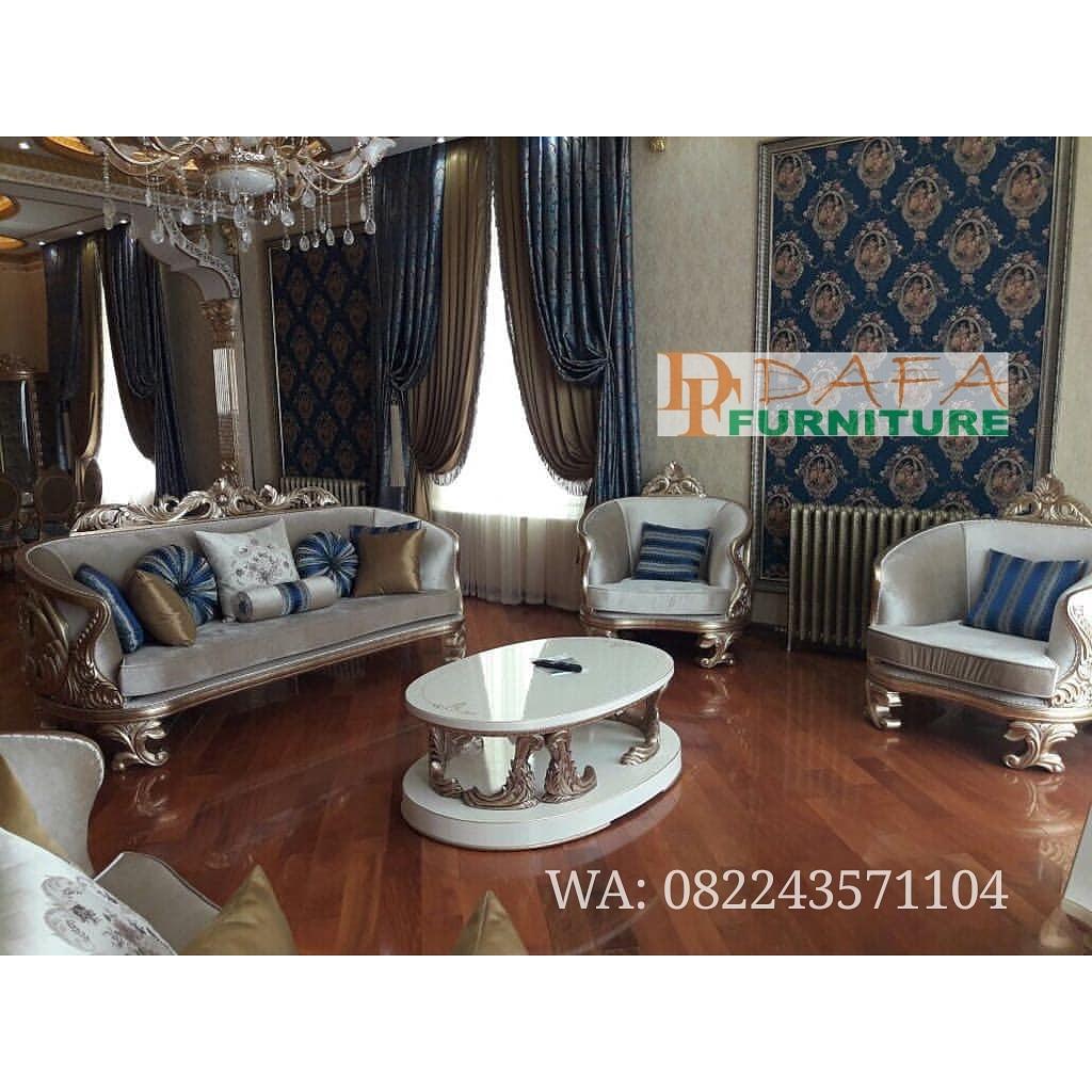 Set Kursi Sofa Tamu Modern Putih Mewah Terbaru