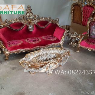 Set Sofa Tamu Mewah Meja Kerang Ukir Jepara Terbaru