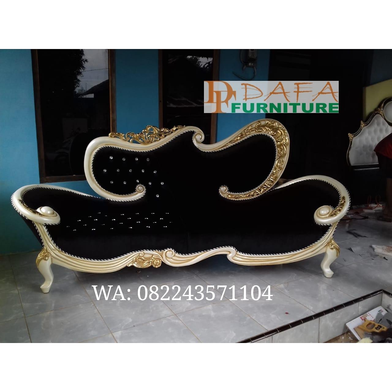 Sofa Tamu Mewah Cantik Hitam Terbaru
