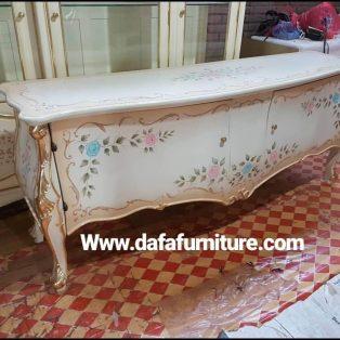 Meja Konsol Putih Motif Bunga 2 Pintu Terbaru