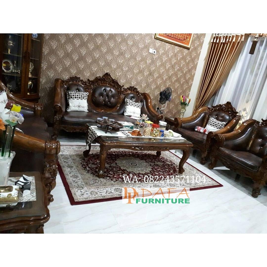 Set Kursi Sofa Tamu Jati Mewah Ukir Jepara Terbaru