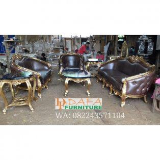 Set Kursi Sofa Tamu Mewah Duco Emas Ukir Jepara Terbaru