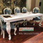 Set Meja Makan Putih Ukir Jepara Mewah Terbaru