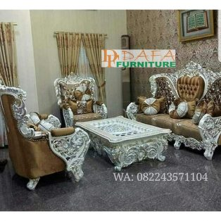 Set Sofa Ruang Tamu Silver Mewah Klasik Terbaru