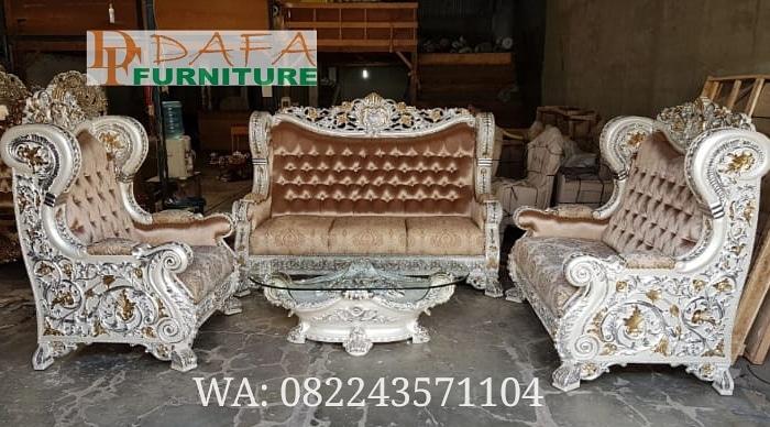 Set Kursi Sofa Tamu Mewah Model Eropa Klasik Terbaru