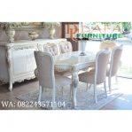 Set Meja Kursi Makan Duco Putih Ukiran Terbaru