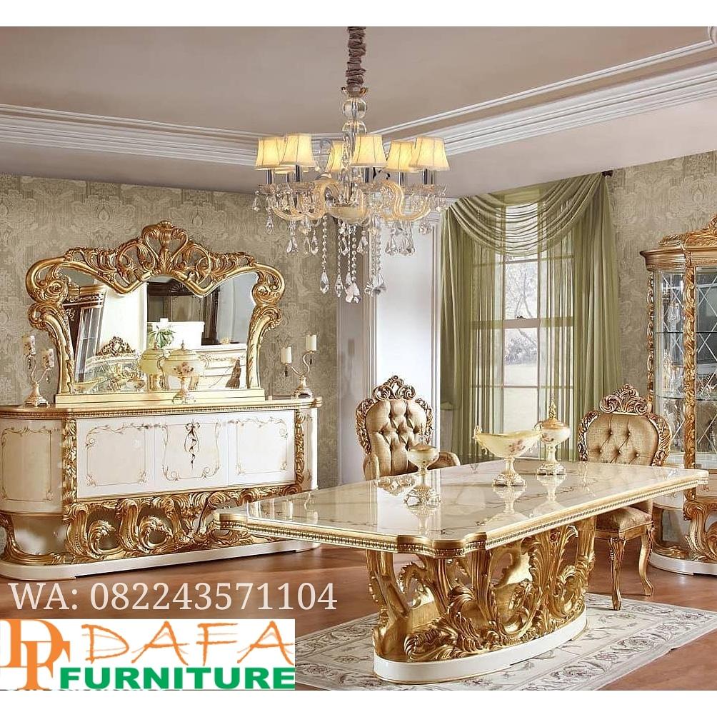 Set Ruang Makan Mewah Ukir Duco Emas Terbaru