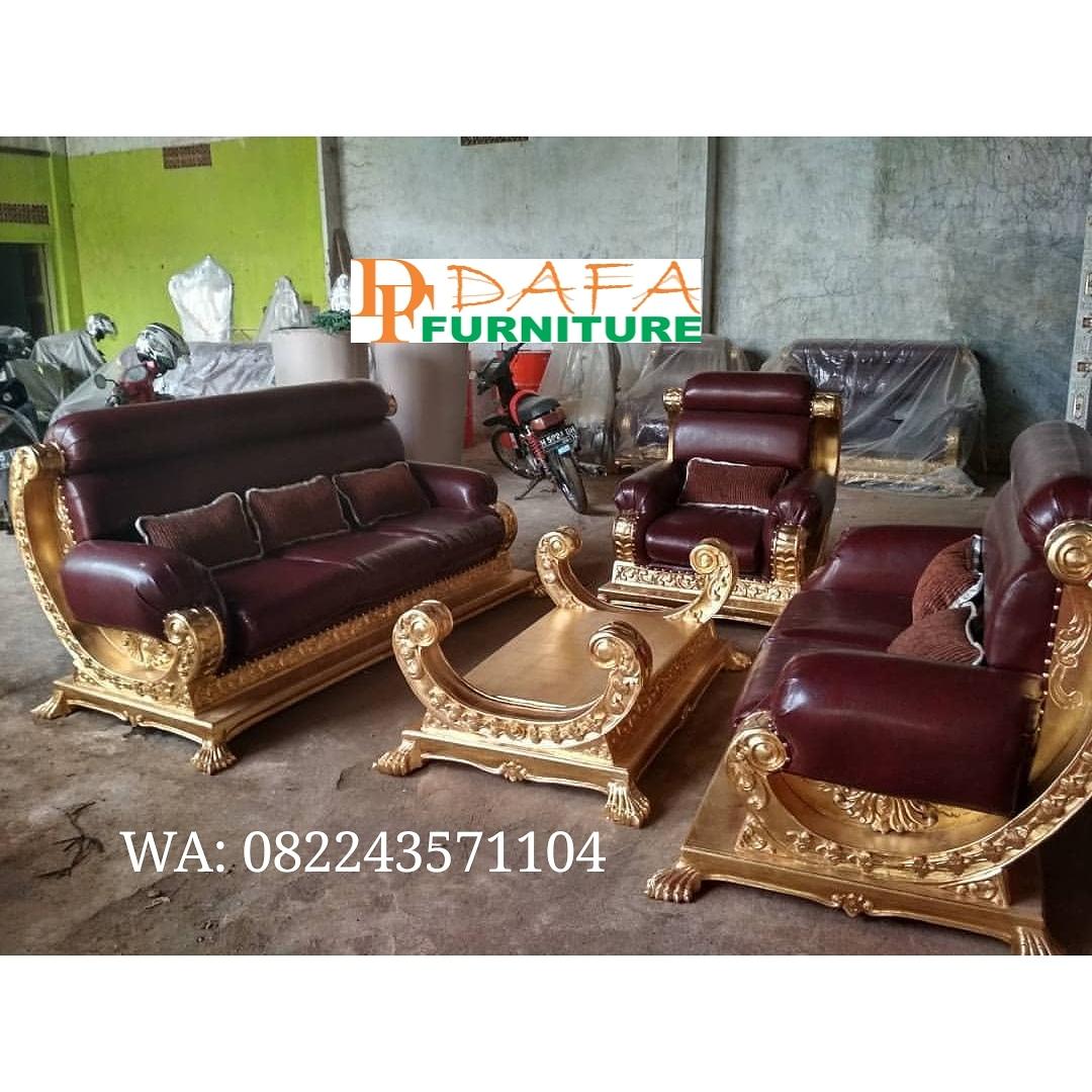 Set Sofa Tamu Ukir Mewah Emas Terbaru