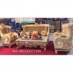 Set Sofa Tamu Mewah Ukiran Klasik Model Raja Gold