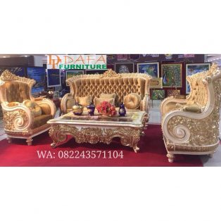 Set Sofa Tamu Mewah Ukiran Klasik Model Raja Gold