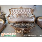 Sofa Tamu Mewah 3 Dudukan Warna Emas Terbaru