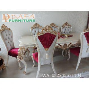 Set Meja Kursi Makan Klasik Putih Kombinasi Emas Terbaru