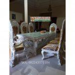 Set Meja Makan Ukir Putih Klasik Mewah Terbaru