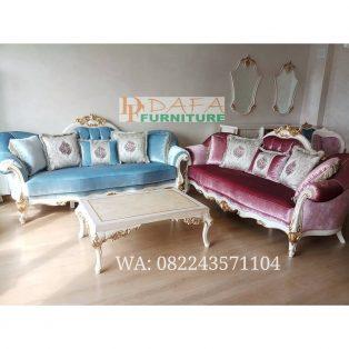 Set Sofa Ruang Tamu Mewah Duco Putih Terbaru