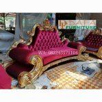 Sofa Tamu Ukir Kerang 3 Dudukan Mewah Terbaru