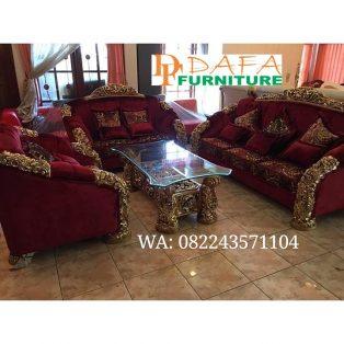 Set Sofa Tamu Ukir Mewah Duco Emas Terbaru