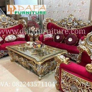 Set Sofa Tamu Ukiran Klasik Duco Mewah Terbaru DFJ-037